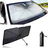 ABIJYI Car Windshield Sun Shade Umbrella,Easy Foldable Car Front Window Sunshade Sun Visor Protector Blocks UV Rays Keep Vehicle Cool and Protects Auto Interiorfor Most Sedans SUV Truck L(57x31in)