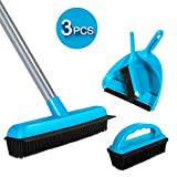 Long Handle Soft Bristle Rubber Broom and Handheld Brush Dustpan Set with Rubber Lip and Floor Brush Cleaning Set for Floor Sweep Set