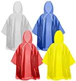 The Clean Explorer Disposable Rain Ponchos with Hood and Drawstring: Extra Thick (4 Pack - Adult Size)