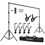 Slow Dolphin Photo Video Studio 10ft (W) x 9.2ft (H) Heavy Duty Adjustable Photography Backdrop Stand Background Support System Kit with Carry Bag