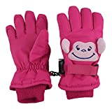 N'Ice Caps Little Kids Squeaky Sound Cute Animal Face Waterproof Gloves (3-4 Years, Monkey - Fuchsia/Pink)