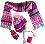 N'Ice Caps Little Girls and Infants Sherpa Lined Snowflake Knitted Set (2-4 Years, Pink/Purple/Fuchsia/lt Purple Print)