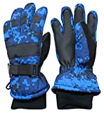 N'Ice Caps Kids Cold Weather Waterproof Camo Print Thinsulate Ski Gloves (Blue Digital Camo, 4-5 Years)