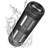 Bluetooth Speakers Portable Waterproof Outdoor Wireless Speakers Enhanced Bass, 30H Playtime, Power Bank, AUX Line, Built in Mic, Auto Off, Light for Bike, Camping, Beach