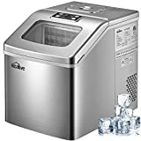 Ice Maker Machine 48 lbs Ice in 24 Hours Portable Ice Maker for Counter top Clear Square Ice Cubes Ready in 15 Minutes with 3 lbs Storage and Scoop, Stainless Steel by Kealive