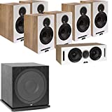 ELAC Debut Reference DB62 7.1 Channel Bookshelf Surround Sound Home Theater System with Subwoofer SUB3030 - White/Oak