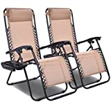 Giantex 2 PCS Zero Gravity Chair Patio Chaise Lounge Chairs Outdoor Yard Pool Recliner Folding Lounge Chair with Cup Holder (Beige)