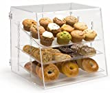 Pastry Display Case with 3 Removable Trays, Rear Door - 19 x 17 x 16.625 Inch - Clear Acrylic