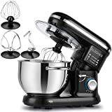 ALBOHES Stand Mixer, 600W 6 Quart Tilt-Head Dough Mixer, Electric Kitchen Mixers Food Mixer with Stainless Steel Bowl, Dough Hook, Whisk, Flat Beater, Pouring Shield (Black)
