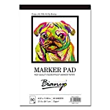 Bianyo BN-5801 Bleedproof Marker Paper Pad-A4(8.27inX11.69in) -50 Sheets, White (8.27'x11.69')