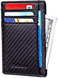 Chelmon Slim Wallet RFID Front Pocket Wallet Minimalist Secure Thin Credit Card Holder (01 carbon leather black)