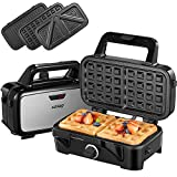 Decen Sandwich Maker, Waffle Maker, Sandwich Grill, 1200-Watts, 5-Gears Temperature Control, 3-in-1 Detachable Non-stick Coating, LED Indicator Display, Cool Touch Handle, Anti-Skid Feet, Black