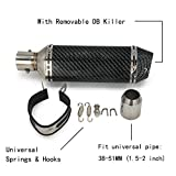 Universal 1.5-2' Inlet Slip On Exhaust Muffler With Removable DB Killer - Street Bike Motorcycle Scooter - Carbon Fiber Color