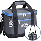 Blue Insulated Cooler Bag – 6L Collapsible Thermal Lunch Bag with Bottle Opener, 16 Can Capacity – Perfect For Camping, Picnics and Travel - Handles and Removable Shoulder Strap - By Outrav
