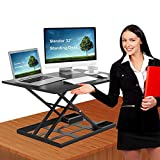 Standing Desk Stand Up Desks Height Adjustable 32 inch Sit Stand Converter Dual Monitor Ergonomic Air Riser Laptop Stands Large Rising Desktop Computer Table Workstation Foldable Extender Home Office