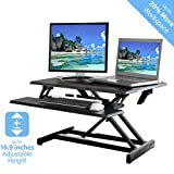 Seville Classics AIRLIFT Height Adjustable Standing Desk Converter Workstation - Removable Keyboard Tray - Compact (30'), Black