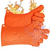 Jolly Green Products Ekogrips Premium BBQ Oven Gloves | Best Versatile Heat Resistant Grill Gloves | Insulated Silicone Oven Mitts for Grilling | Waterproof | Forearm Protection | Orange, OSFM