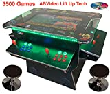 ABVIDEOARCADES Black Lift UP Screen 3500 Classic Games Huge 26.5 Inch Screen Full Size Commercial Grade Cocktail Arcade Machine Games 2 Stools 3 Year Warranty Screen LED Trim Stools Included LIFUUBLK