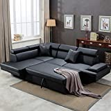 Sofa Sectional Sofa for Living Room Futon Sofa Bed Couches and Sofas Sleeper Sofa Modern Sofa Corner Sofa Faux Leather Queen 2 Piece Modern Contemporary