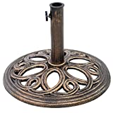 Giantex 18' Round Umbrella Base Stand Cast Iron Market Patio Outdoor Deck Porch Lawn Garden Heavy Duty Patio Umbrella Base Stand