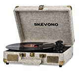 Vinyl Record Player, SKEVONO 3 Speed Portable Suitcase Turntable, Bluetooth Vintage Record Player with 2 Built-in Speakers, Supports RCA Output Headphone Jack Phone Music Playback (Light Beige Linen)