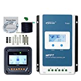 EPEVER MPPT Solar Charge Controller 30A Tracer3210AN + Remote Meter MT50+Temp Sensor Cable Solar Charge With LCD Display for Gel Sealed Flooded Lithium Solar Battery Charging-Negative Grounded