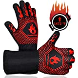 Homemaxs BBQ Gloves,Oven Gloves1472℉ Extreme Heat Resistant, Food Grade Kitchen Grill Gloves, Silicone Non-Slip Cooking Gloves for Barbecue, Cooking, Baking, Welding, Cutting, 14 Inch (Style 1-Red)
