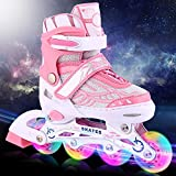 ANCHEER Pink Inline Skates Adjustable Women Kids Roller Skates for Girls Size 5 7 4 Aggressive Urban Skating