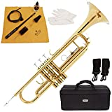 Mendini by Cecilio Gold Brass Standard Bb Trumpet with Hard Case, 7C Mouthpiece, Valve Oil, Mouthpiece & Valve Brush, Flexible Bore Brush, Cleaning Rod, Cleaning Cloth, Gloves, and Warranty