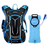 OUTON Hydration Backpack with 2L Water Bladder BPA Free Leak Proof, Lightweight 18L Hydration Pack Men Women Kids with Rain Cover for Cycling Running Hiking Camping Skiing (Black&Blue)