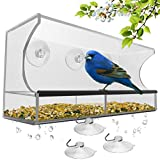 Window Bird Feeder with Strong Suction Cups and Seed Tray, Outdoor Birdfeeders for Wild Birds, Finch, Cardinal, and Bluebird. Large Outside Hanging Birdhouse Kits, Drain Holes, 3 Extra Suction Cups
