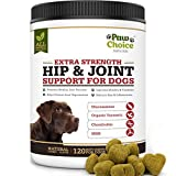 Paw Choice Dog Joint Supplement Chews - All Natural Glucosamine for Dogs with Chondroitin, MSM, Organic Turmeric - Hip and Joint Support and Pain Relief - Made in USA, 120 Treats, Turkey Flavor