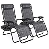 Best Choice Products Set of 2 Adjustable Steel Mesh Zero Gravity Lounge Chair Recliners w/Pillows and Cup Holder Trays, Gray
