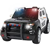 Best Choice Products 12V Kids Police RC Remote Ride On SUV Car w/ Parent Control, 2 Speeds, Lights, AUX, Sirens - Black