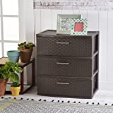 Sterilite 25306P01 3 Drawer Wide Weave Tower, Espresso Frame & Drawers w/ Driftwood Handles, 1-Pack