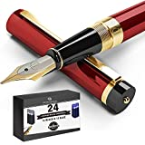 Dryden Designs Fountain Pen Medium Nib, Includes 24 Ink Cartridges - 12 Black and 12 Blue Comes with Ink Refill Converter, Gift Pouch Classic Writing Tool [Dangerous Red] for Left and Right Handed