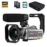 Video Camera 4K Camcorder ORDRO 4K Ultra HD 30FPS Digital Video Camera WiFi Recorder IR Night Vision 3.1' IPS Touch Screen with Stereo Microphone, Wide Angle Lens, Camera Holder and 64GB SD Card