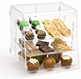 Clear Acrylic Pastry Case with 3 Removable Trays, Rear Door - 15.75 x 16.875 x 14.75 Inch