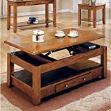 MOOSENG Lift TOP Coffee Table Oak Bottom Shelf-Bring Style and Function Within Your Home with This Collection. Featuring a Drawer for Storage