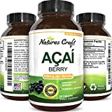 Natures Craft Pure Acai Berry Detox Weight Loss Supplement Natural Antioxidant Superfood Increase Energy Support Heart Health Burn Belly Fat Immune System Booster Skin Care Anti-Aging 60 Capsules