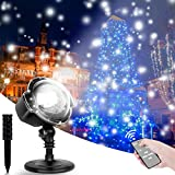 Christmas Snowflake Projector LED Lights, CroLED Rotating Snowfall Landscape Lights with Remote Outdoor Indoor Night Light Waterproof Spotlight Decorative Lighting for Holiday Xmas Party