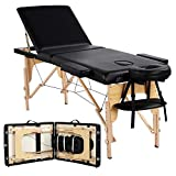 Yaheetech Massage Table Portable Massage Bed Spa Bed Height Adjustable 84 Inch 3 Folding Professional Massage Table Tattoo Therapy Bed Spa Table With Carry Case Black