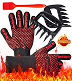 BBQ Gloves Set, EUHOME Oven Gloves Grilling Gloves 1472 ℉ Extreme Heat and Cut Resistant, BBQ Kit with BBQ Brush, BBQ Claws Accessories, fireproof Oven Mitts Great for Cooking,Baking,Frying,Grilling