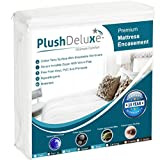 PlushDeluxe Premium Zippered Mattress Encasement, Waterproof, Bed Bug & Dust Mite Proof 6-Sided Protector Cover, Hypoallergenic Cotton Terry Surface (Fits 9-12 Inches H) Queen,10-Year Warranty