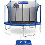 SONGMICS 15-Foot Trampoline with Enclosure Net, Basketball Hoop, Jumping Mat, Safety Pad, Ladder, Outdoor Backyard Trampolines, TÜV Certificated USTR15BU
