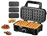 TIBEK Sandwich Maker, Waffle Maker, Sandwich Grill, 1200-Watts, 5-Gears Temperature Control, 3-in-1 Detachable Non-stick Coating, LED Indicator Display, Cool Touch Handle, Anti-Skid Feet, Black