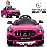 Licensed Mercedes Benz AMG GTR Coupe Electric Ride On Car With 2.4G Remote Control, LED Light, MP3 Socket, 12V 2 Motors - Pink