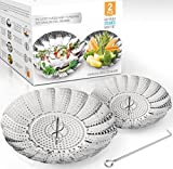 Two-Pack (Large and Standard) Vegetable Steamer Basket Set - Steamer Inserts for Instant Pot + Safety Tool - 100% Stainless Steel - Pressure Cooker & Instant Pot Accessories, Pot in Pot - Egg Rack