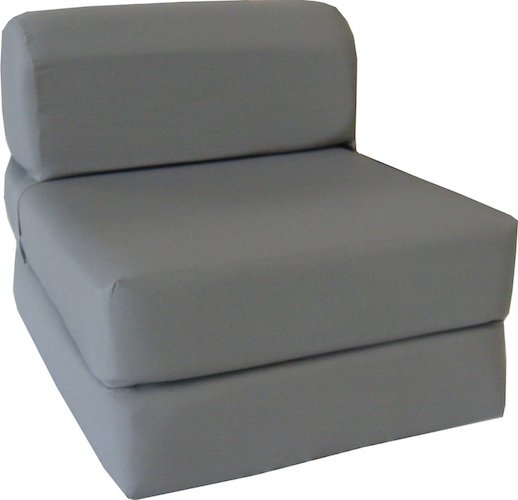 3. D&D Futon Furniture Gray Sleeper Chair Folding Foam Bed