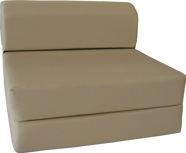 8. D&D Futon Furniture Tan Sleeper Chair Folding Foam Bed